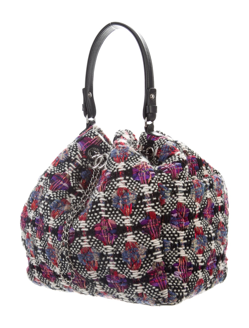 Chanel Tweed Drawstring Bag Cream - image 3