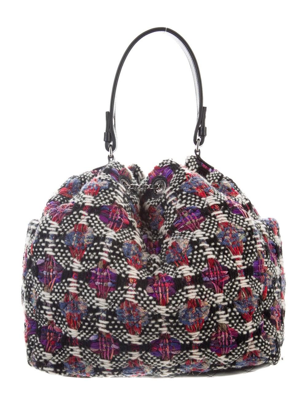 Chanel Tweed Drawstring Bag Cream - image 4