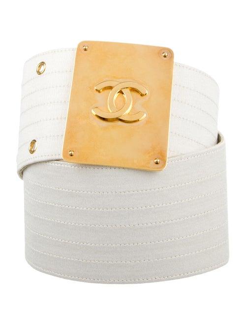 Chanel Vintage CC Waist Belt White