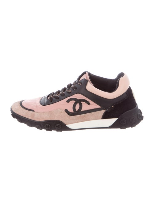 Chanel Suede Colorblock Pattern Sneakers Pink - image 1