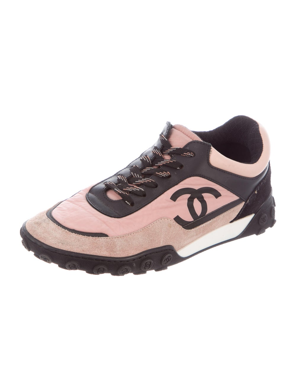 Chanel Suede Colorblock Pattern Sneakers Pink - image 2