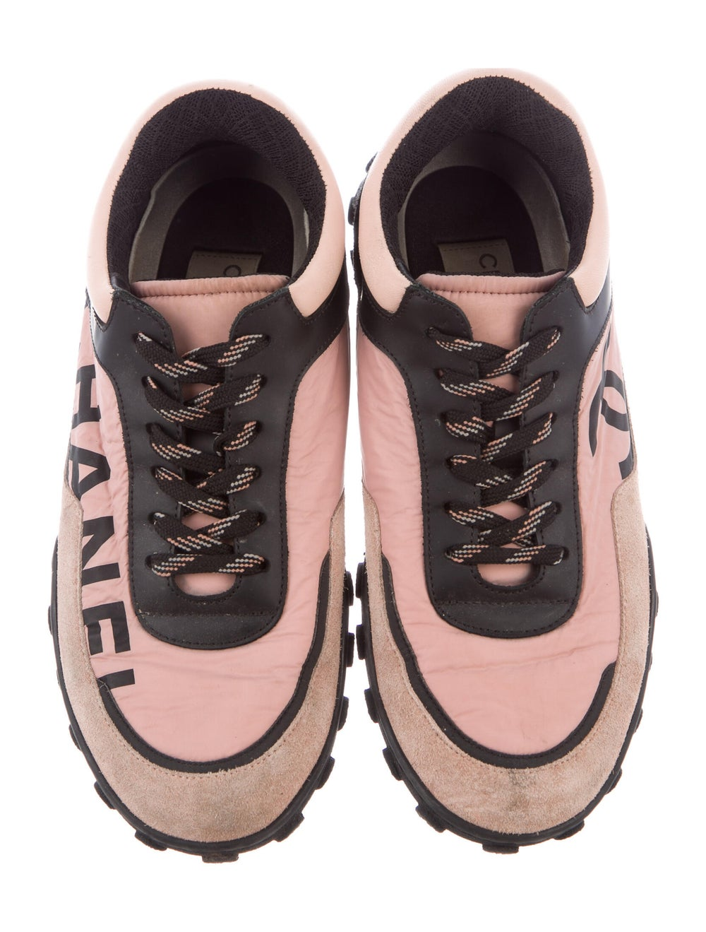 Chanel Suede Colorblock Pattern Sneakers Pink - image 3
