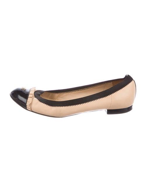 Chanel Interlocking CC Logo Leather Ballet Flats