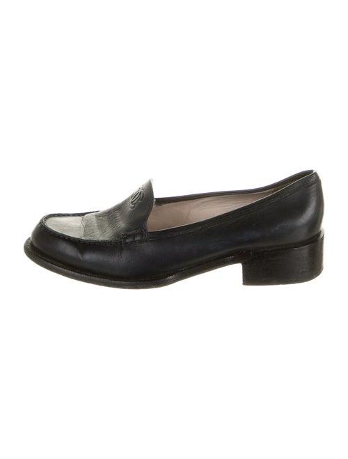 Chanel Vintage Interlocking CC Logo Loafers Black