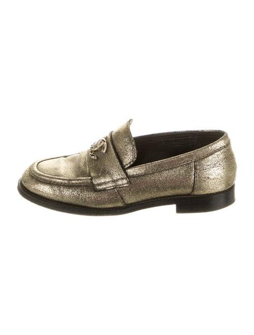 Chanel 2016 Interlocking CC Logo Loafers Gold