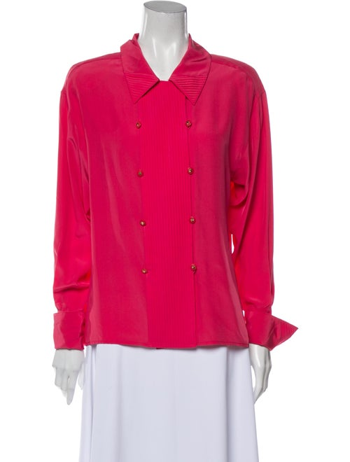 Chanel Vintage Silk Button-Up Top Pink