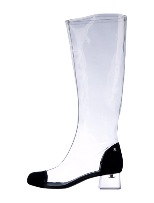 Chanel 2018 PVC Knee-High Boots Rain Boots Clear