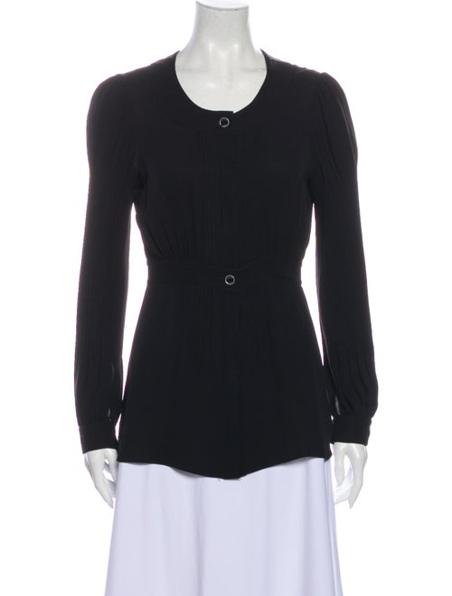 Chanel Pleated Silk Blouse Silk Top Black - image 1