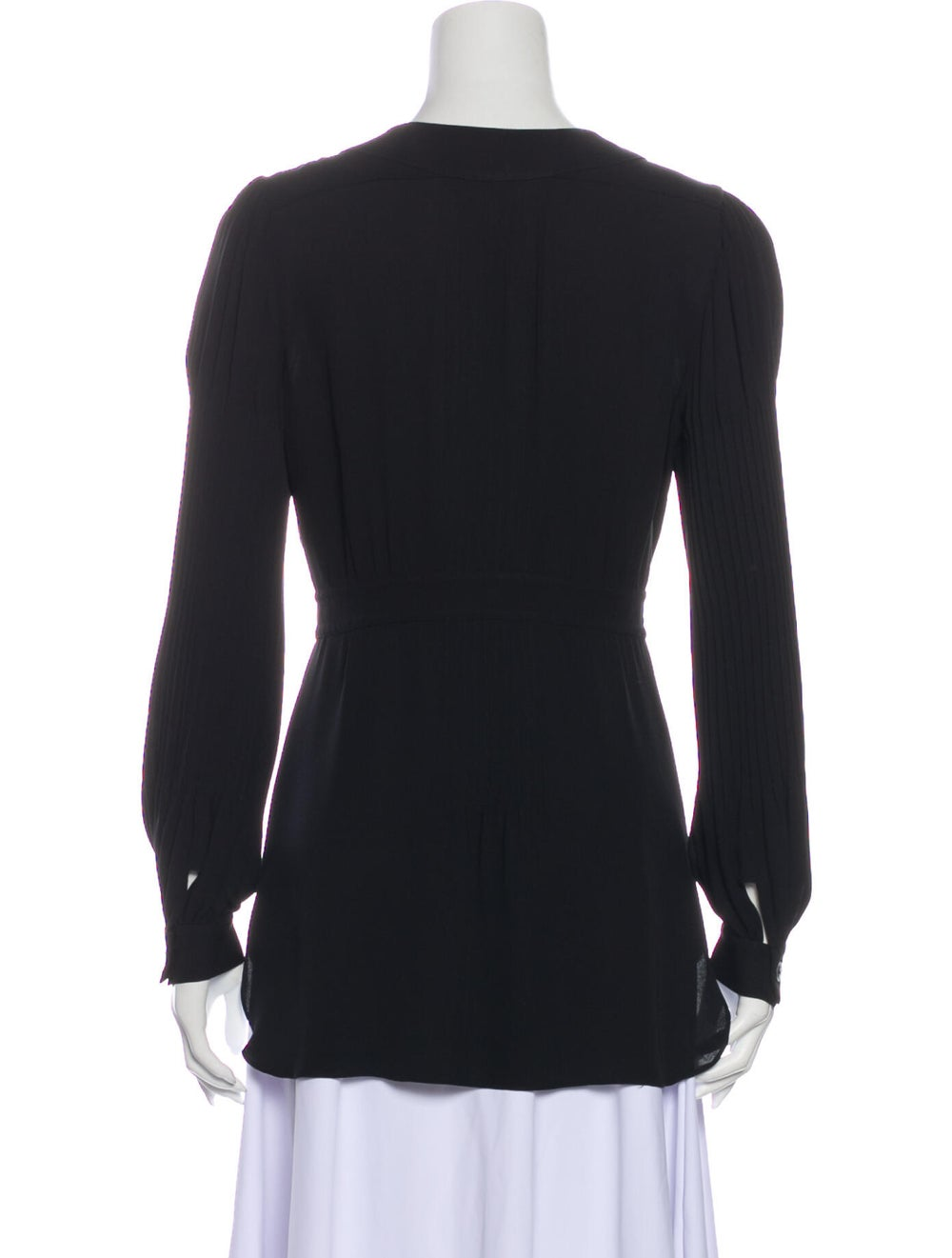 Chanel Pleated Silk Blouse Silk Top Black - image 2