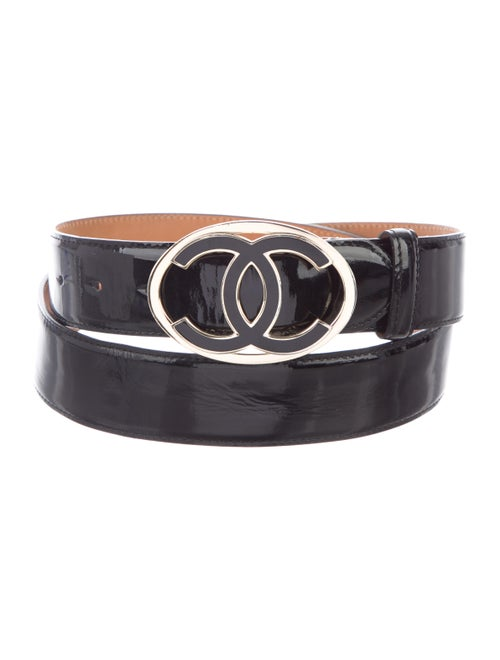 Chanel CC Patent Leather Belt Black