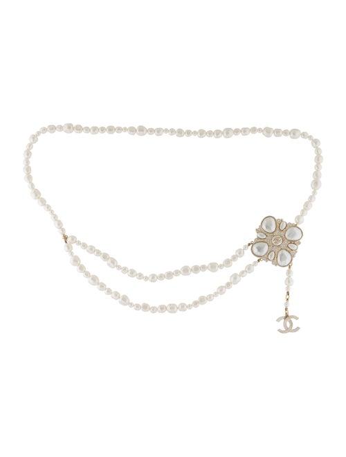 Chanel Pearl Gripoix Brooch Belt Gold