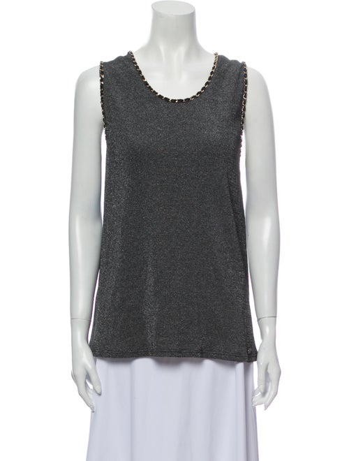 Chanel 2019 Chain-Link Knit Top Top Grey
