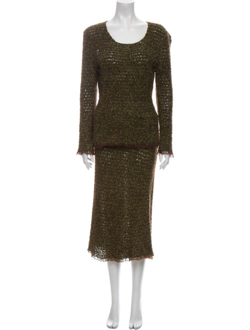 Chanel 1998 Tweed Pattern Skirt Set Green