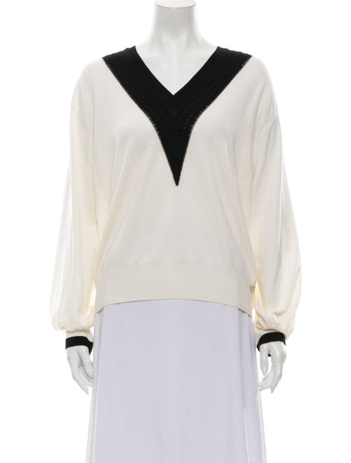 Chanel 2019 Wool V-Neck Sweater Sweater Wool