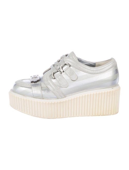 Chanel Lamé Boy Creepers Wedge Sneakers Silver - image 1
