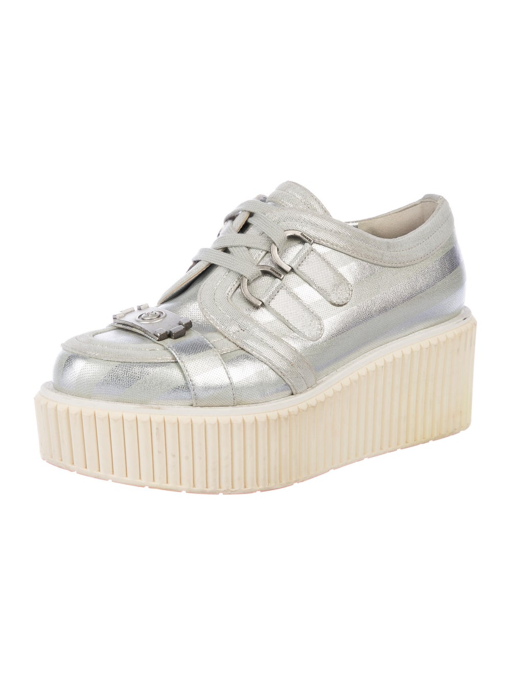 Chanel Lamé Boy Creepers Wedge Sneakers Silver - image 2
