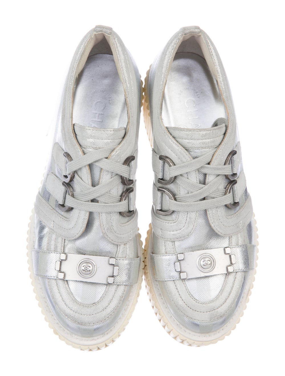 Chanel Lamé Boy Creepers Wedge Sneakers Silver - image 3