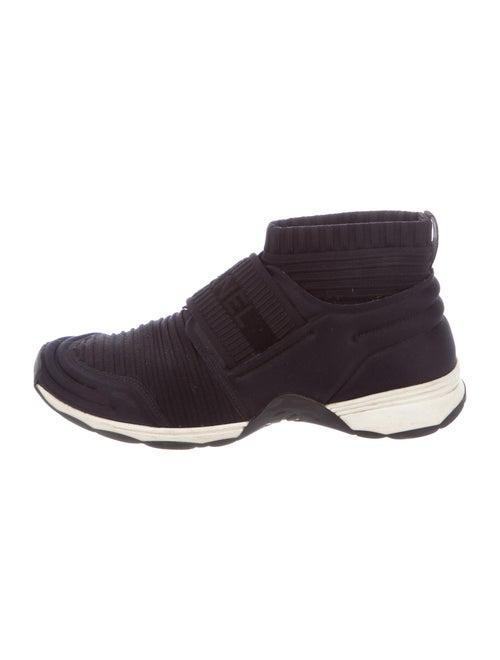 Chanel Logo Knit Sneakers Sock Sneakers Black