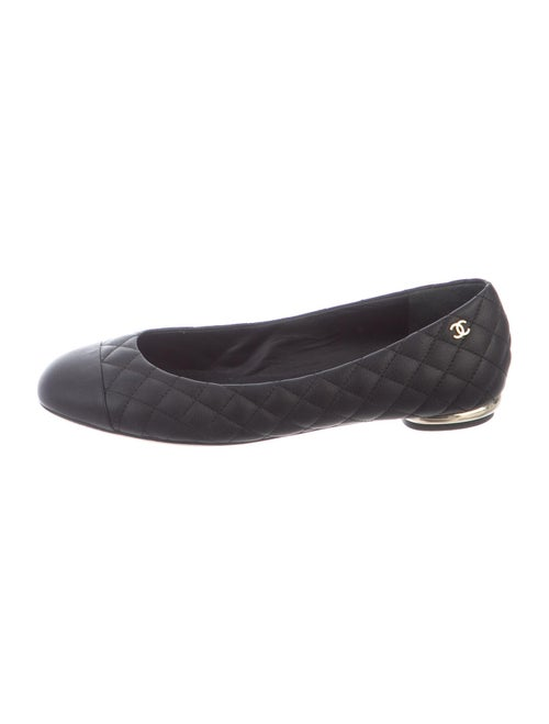 Chanel Quilted Pattern Leather Flats Black
