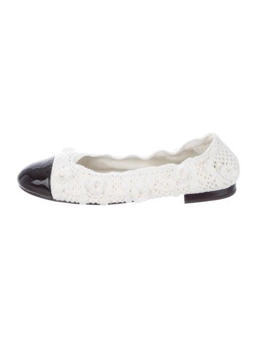 Chanel Camellia Accent Ballet Flats White