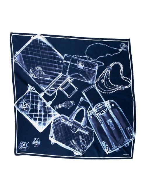 Chanel Printed Silk Scarf Navy