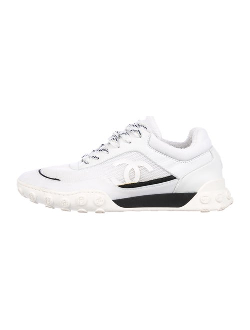 Chanel Colorblock Pattern Sneakers White