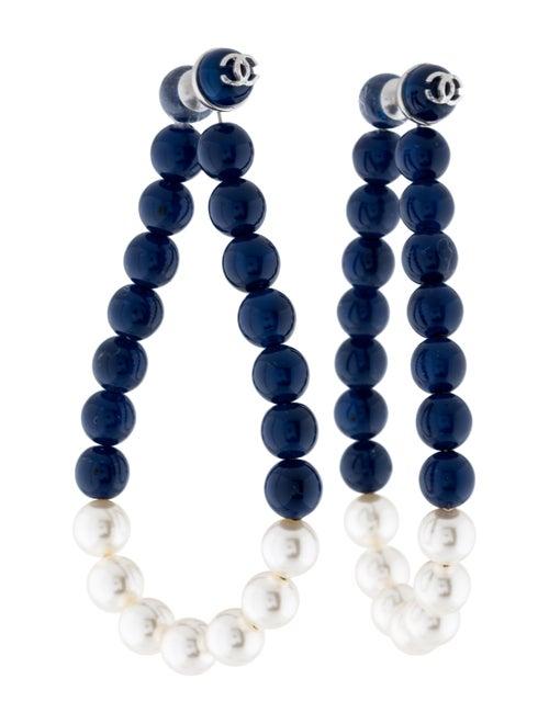 Chanel Faux Pearl & Resin Beaded Hoop Earrings Sil
