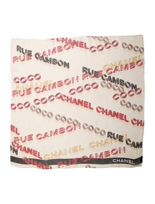 Chanel Vintage Silk Chiffon Scarf Beige