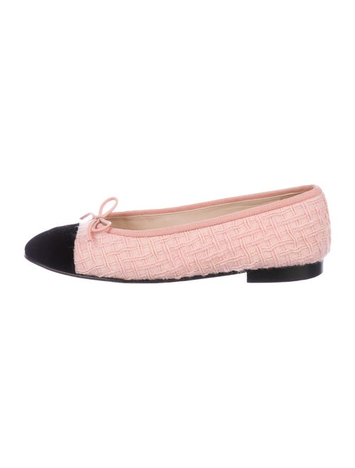 Chanel Printed Bow Accents Flats Pink