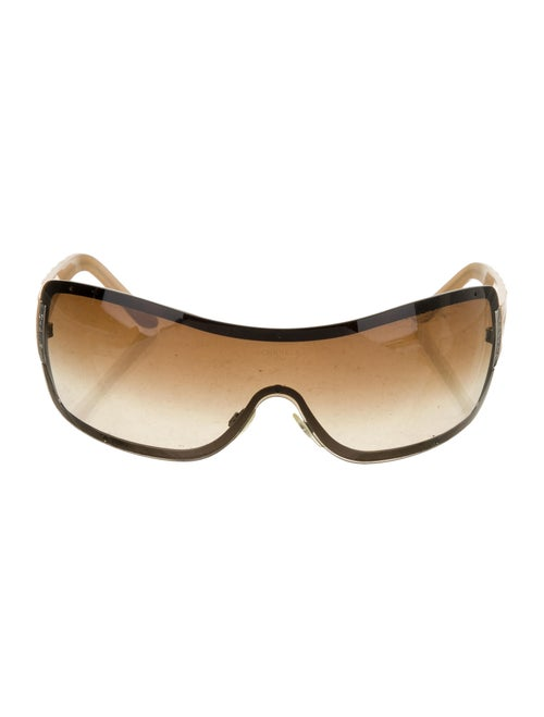 Chanel Quilted Shield Sunglasses Tan