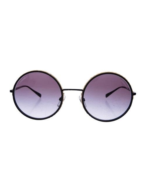 Chanel Round Jute-Trimmed Sunglasses black