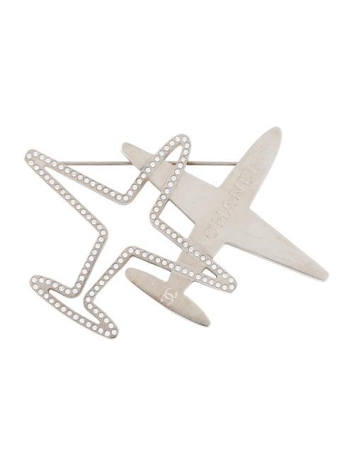 Chanel Strass Airplane Brooch Silver