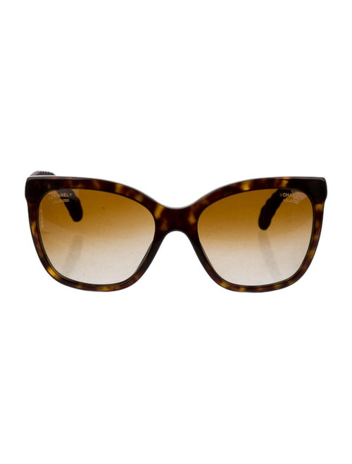 Chanel CC Quilted Sunglasses Brown