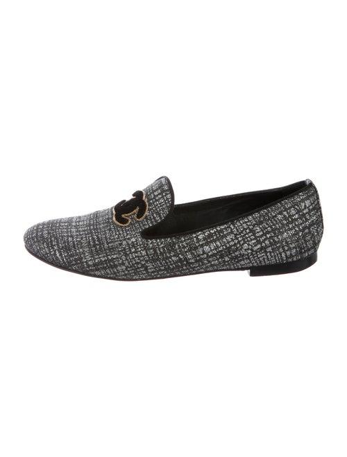 Chanel Interlocking CC Logo Loafers Silver