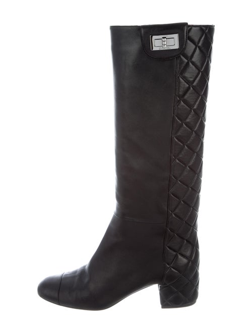 Chanel 2010 Quilted Pattern Riding Boots Black