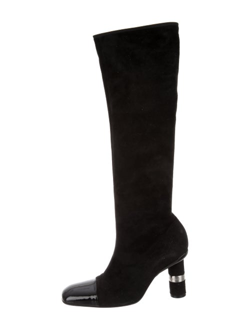 Chanel 2000 Logo Suede Boots Boots Black