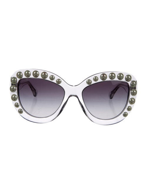 Chanel Pearl Butterfly Sunglasses Clear