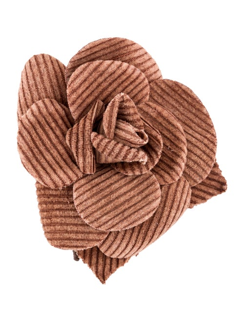 Chanel Corduroy Camellia Brooch Pin Gold