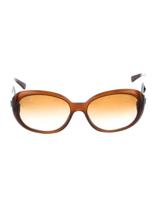 Chanel Camellia CC Sunglasses Brown