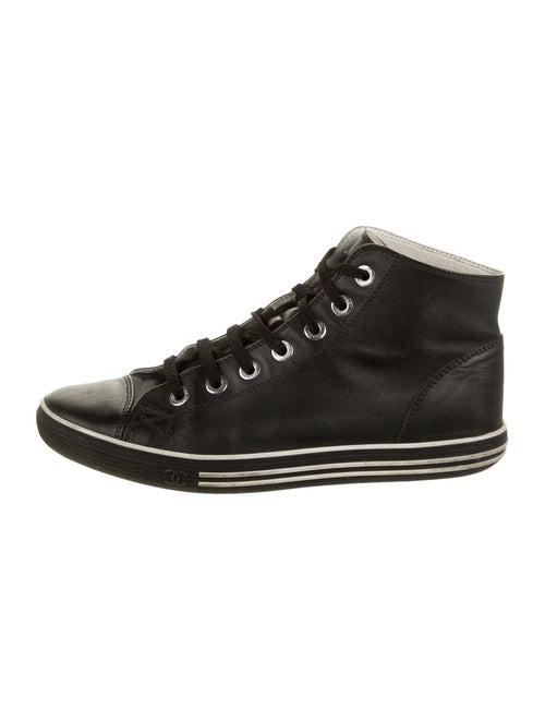 Chanel Interlocking CC Logo Leather Sneakers Black