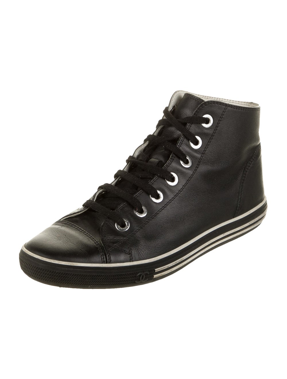 Chanel Interlocking CC Logo Leather Sneakers Black - image 2