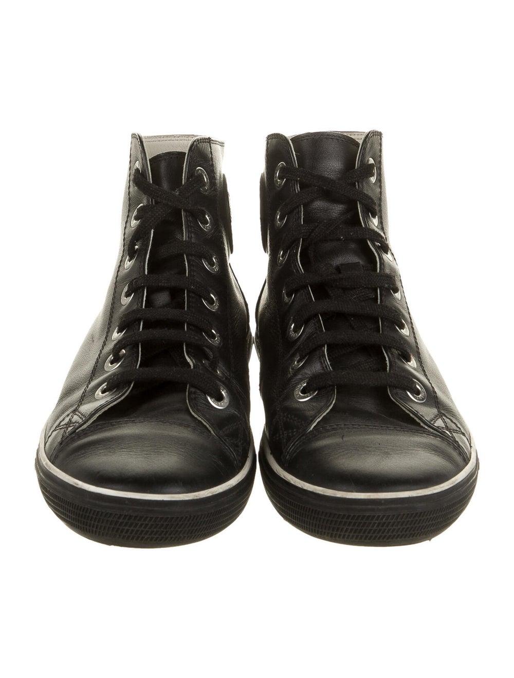 Chanel Interlocking CC Logo Leather Sneakers Black - image 3