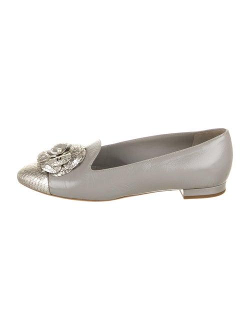 Chanel Interlocking CC Logo Leather Loafers Grey