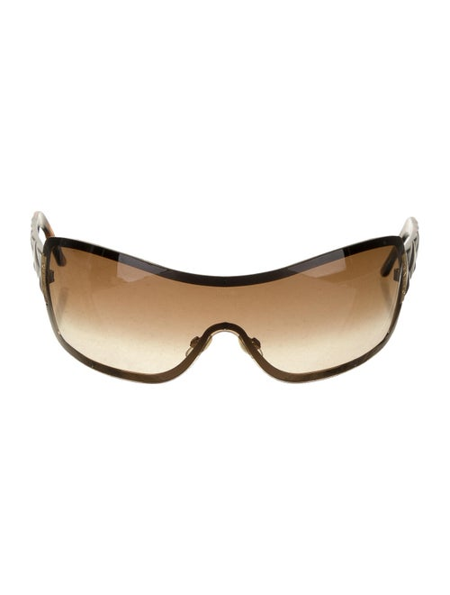 Chanel Quilted Shield Sunglasses Brown