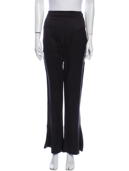 Chanel Silk Flared Wide Leg Jeans Black