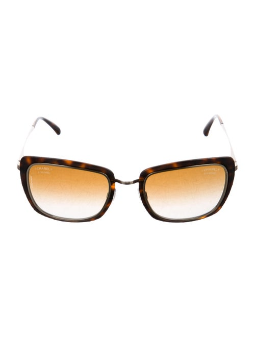 Chanel Rectangle Gradient Sunglasses gold