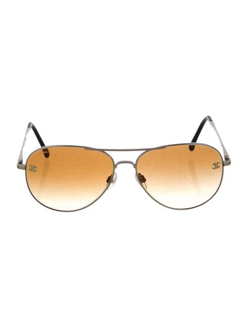 Chanel CC Pilot Sunglasses Gold
