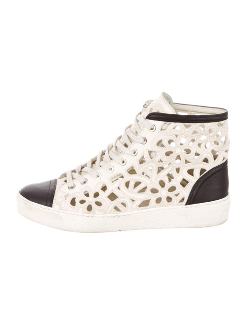Chanel Leather Colorblock Pattern Sneakers