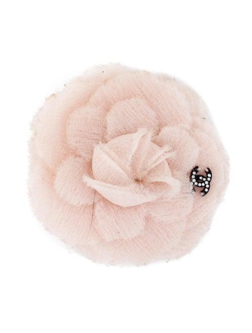 Chanel Tweed Camellia Brooch Pink