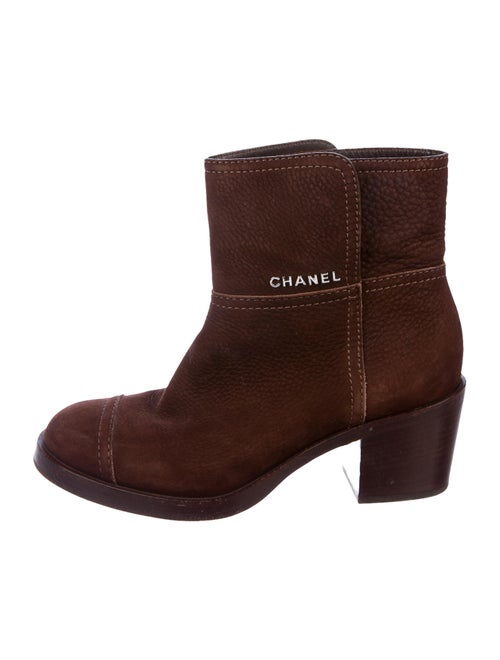 Chanel Signature Logo Suede Boots Brown